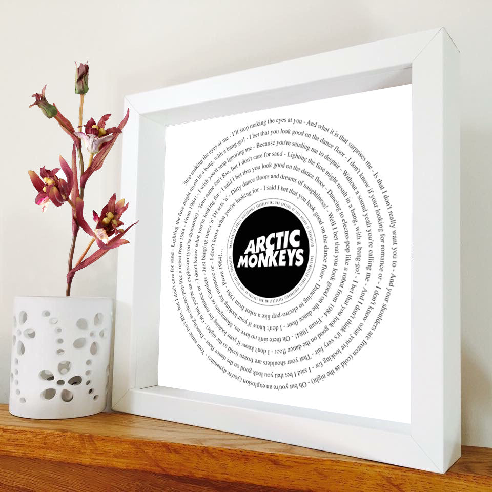 Arctic Monkeys - Framed Song Lyrics - Vinyl Record framed print ...