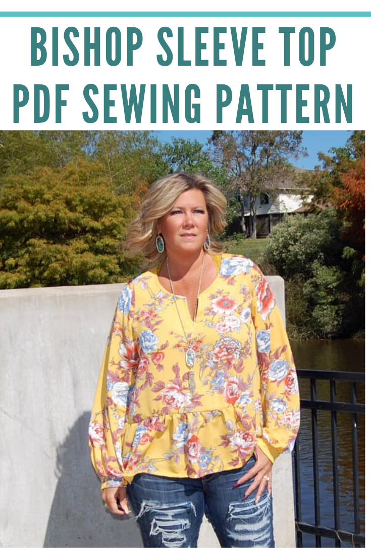 Addie Top and Dress sewing pattern, How to Sew Bishop Sleeves Sewing Pattern for Women by Seamingly Smitten