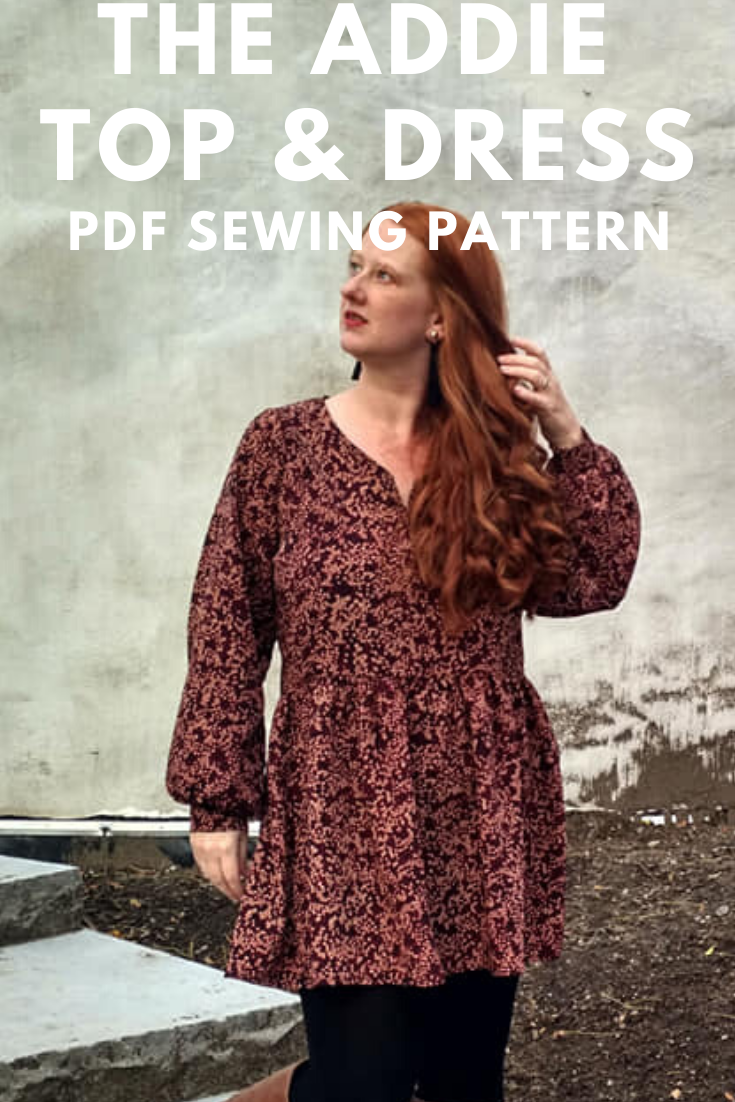 Addie Top and Dress bishop sleeve pattern for women Sew Along Day 2 Seamingly Smitten sewing patterns for women