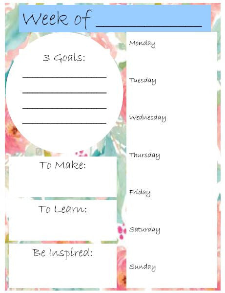 Free Weekly Planner Printable - Sewing Project Planner - Weekly Planner Printable