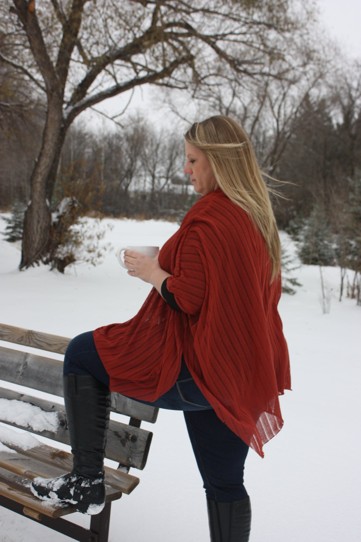 Women's Cowl Neck Poncho with Hood XS-XXXL