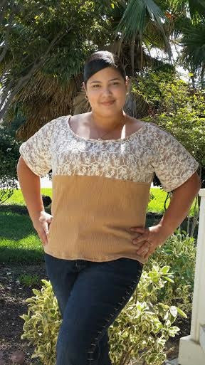 Lace Front Knit Top for Women (XS-XXXL)
