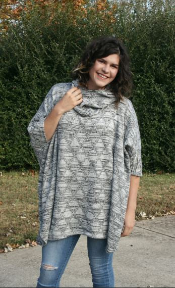 MOMMY and ME Cowl Neck Poncho with Hood and Cowl Neck