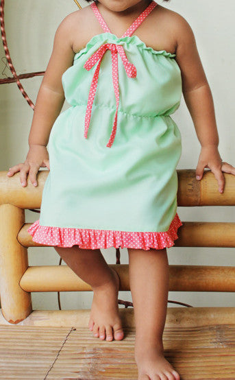 Girls Ruffled Halter Dress pdf sewing pattern