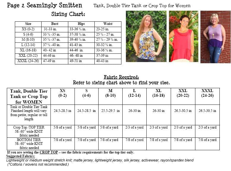 Tank, Double Tier Tank and Crop Top sewing pattern for WOMEN (XS-XXXL / 0-26)