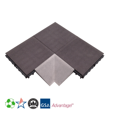 Rubber Designs Interlocking Corner Tile - Inside - EPDM