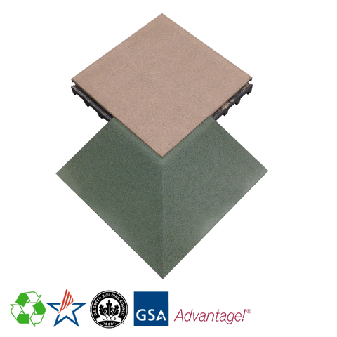 Rubber Designs Interlocking Corner Tile - Outside 75/25 EPDM