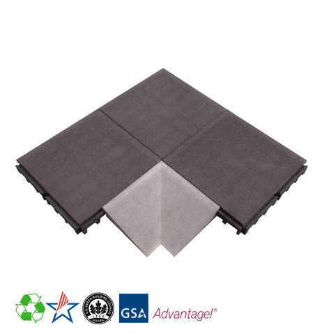 Rubber Designs Interlocking Corner Tile - Inside - 50/50 EPDM