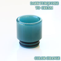 Dark Turquoise to Cream - Color Change Drip Tip - Mouth Piece - ( 810 Size  )