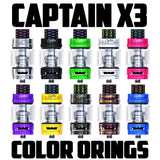 "Captain X3 - iJOY ""BLACK"" Color Orings Seals Gaskets ( 3x Pair )"