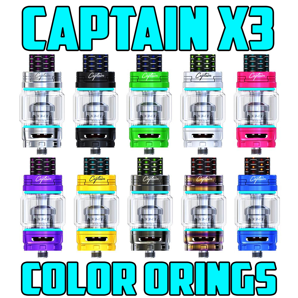 "Captain X3 - iJOY ""CYAN"" Color Orings Seals Gaskets ( 3x Pair )"