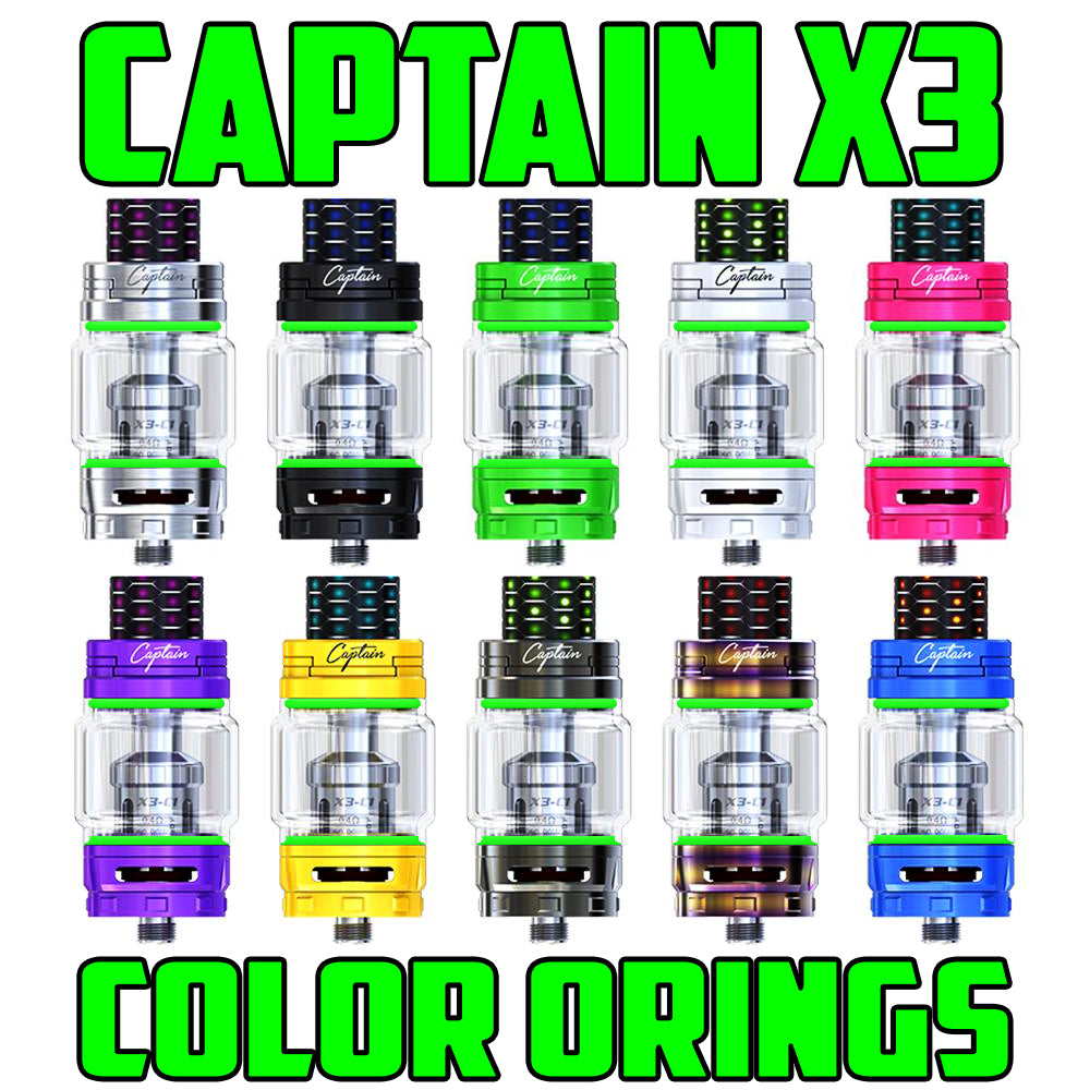 "Captain X3 - iJOY ""GREEN"" Color Orings Seals Gaskets ( 3x Pair )"