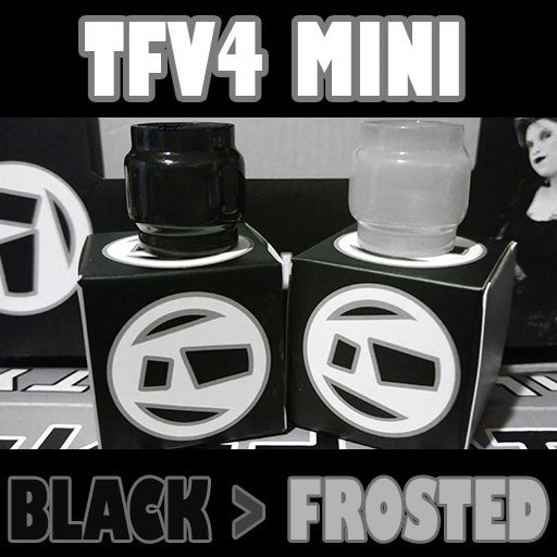 "TFV4 MINI - Extended 5ML - ""Black to Frosted"" - Color Change Glass Inked ATTY Pyrex"