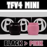 "TFV4 MINI - Extended 5ML - ""Black to PINK"" - Color Change Glass Inked ATTY Pyrex"