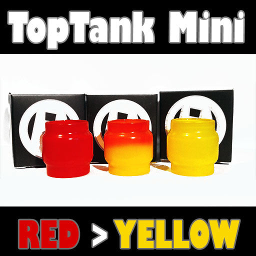 "TopTank Mini V1 - 5ML Extended - ""Red > Yellow"" Color Change Glass Inked ATTY Pyrex"