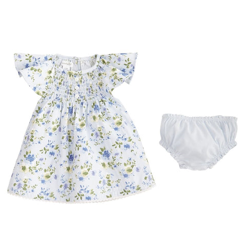 BLUE FLORAL SMOCKED DRESS & BLOOMER SET