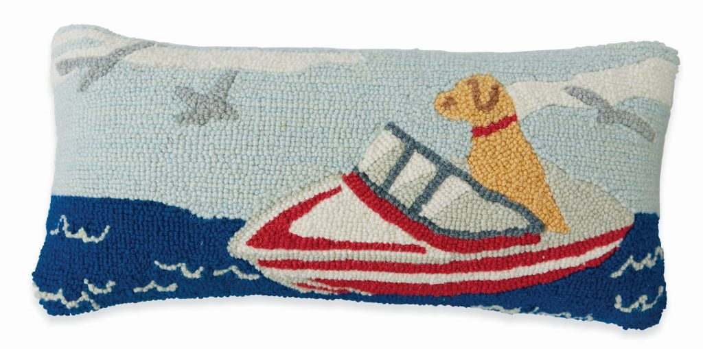 DOG SPEED BOAT HOOKED PILLOW