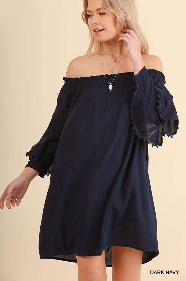 NAVY OFF SHOULDER DRESS WITH LAYERED SLEEVE