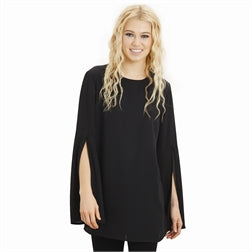 BLACK CHIFFON TUNIC WITH BELL SLEEVES