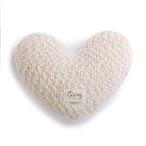 CREAM GIVING HEART PILLOW