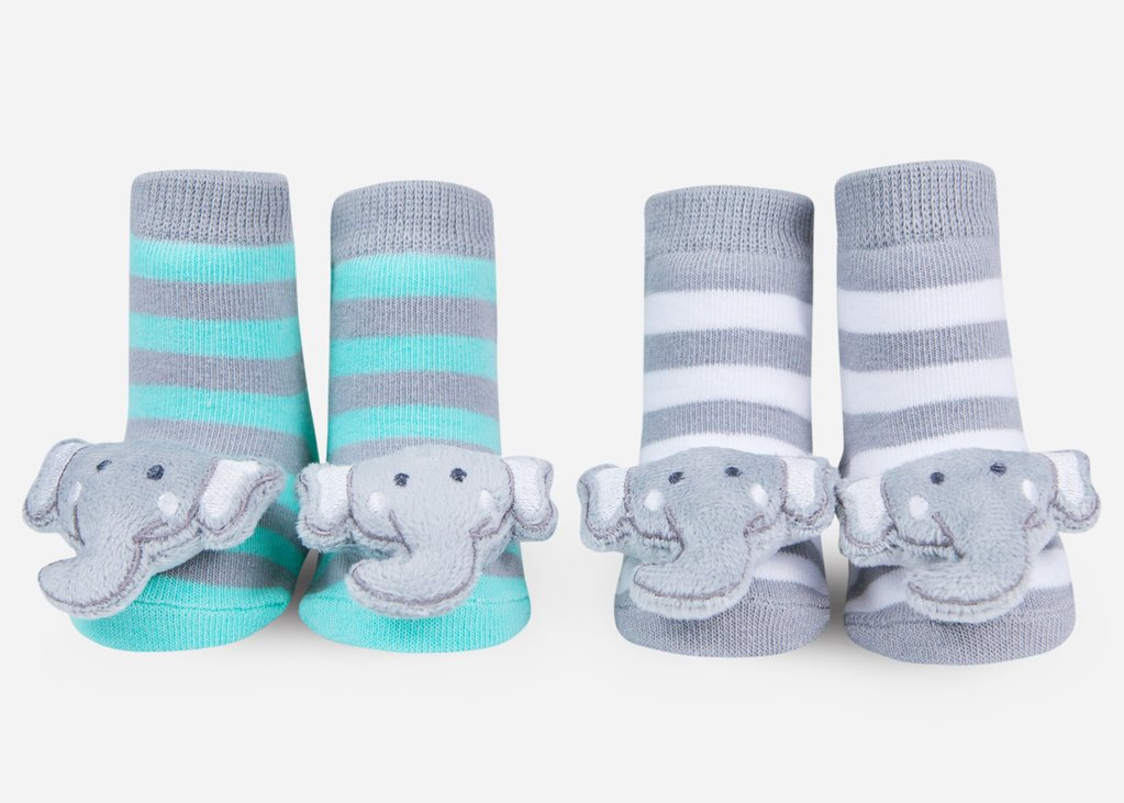 ELEPHANT RATTLE SOCKS 0-12 MONTHS
