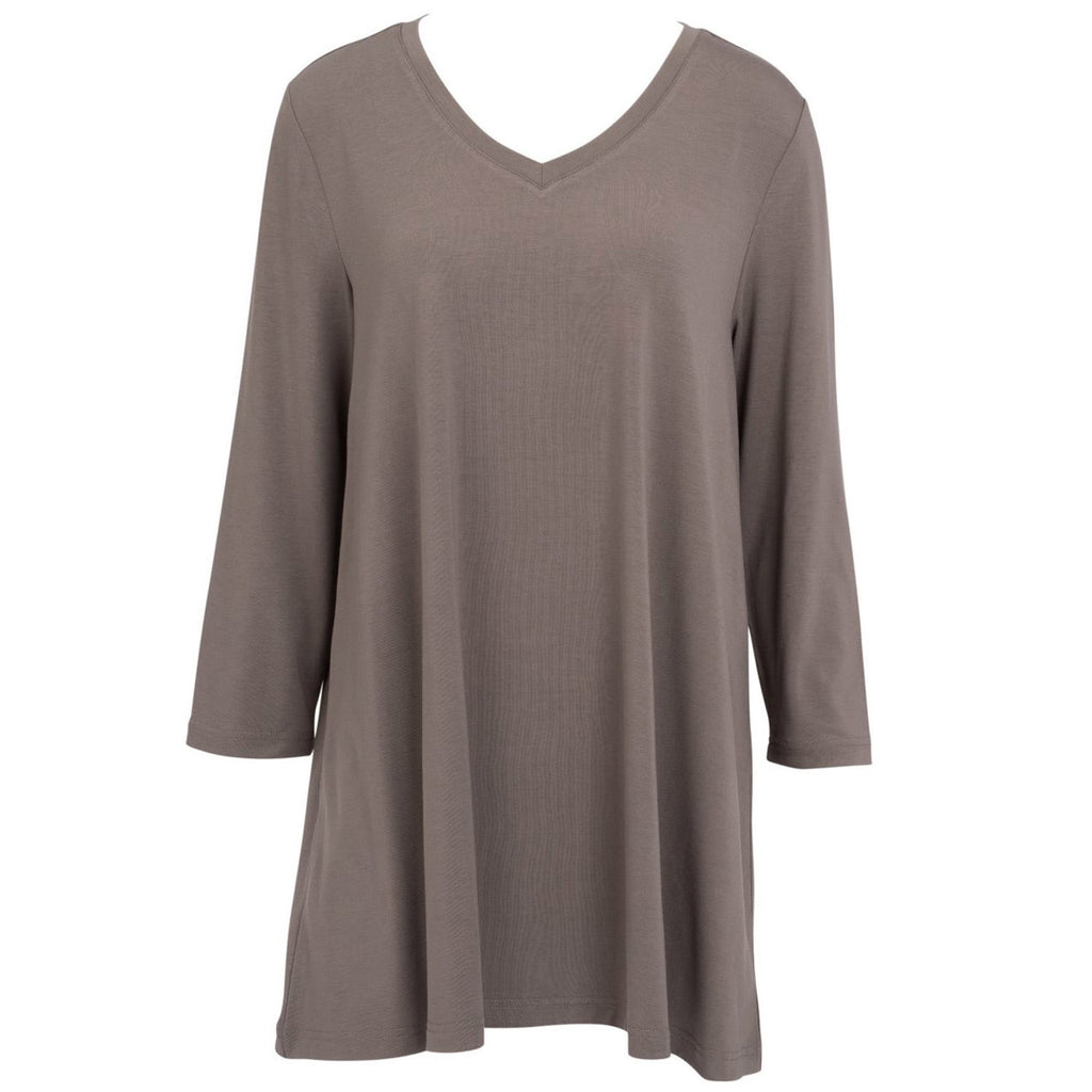 ESSENTIAL V NECK TUNIC CHARCOAL GREY