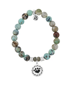 T JAZELLE TURQUOISE JASPER STONE BRACELET WITH PAW PRINT STERLING SILVER CHARM