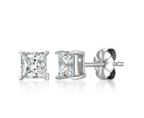 CRISLU SOLITAIRE PRINCESS EARRINGS FINISHED IN PURE PLATINUM 1.5 CARET