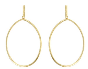 TWISTED OVAL HOOP EARRINGS 18K BRUSHED GOLD PLATED ON POST