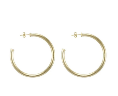 PETITE EVERYBODY'S FAVORITE HOOPS BRUSHED 18K GOLD PLATED