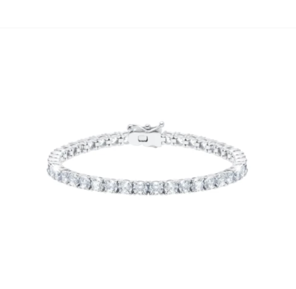 Classic Large Brilliant Tennis Bracelet Finished in Pure Platinum