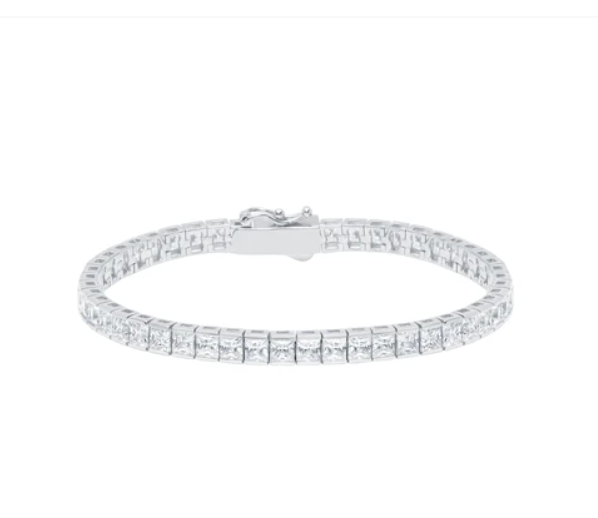 Classic Large Princess Tennis Bracelet Finished in Pure Platinum