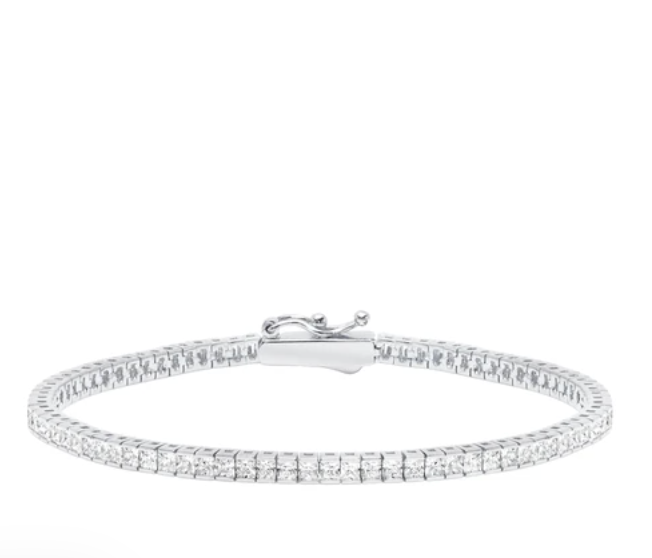 Classic Small Princess Tennis Bracelet Finished in Pure Platinum