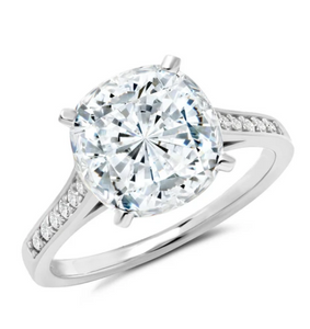 BLISS CUSHION CUT RING FINISHED IN PURE PLATINUM SIZE 8
