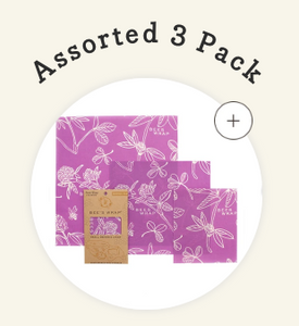 BEE'S WRAP 3 PACK WRAPS ASSORTED SIZES S,M AND L IN CLOVER PRINT