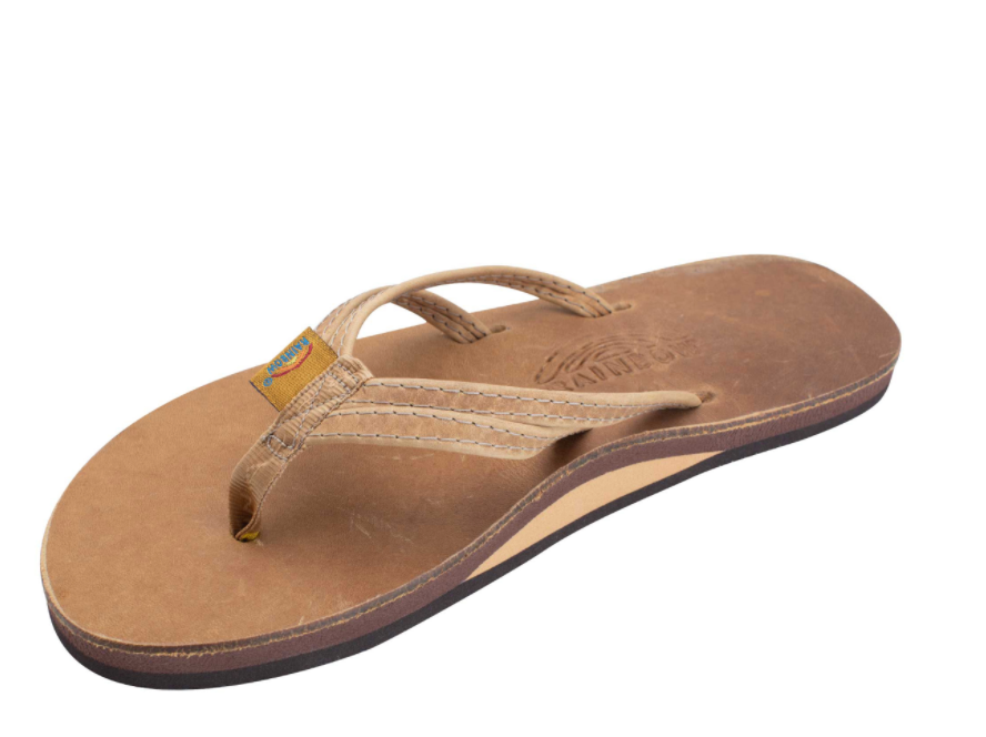 "THE SANDPIPER - LUXURY LEATHER SINGLE LAYER ARCH SUPPORT WITH A DOUBLE NARROW 1/3"" STRAP"