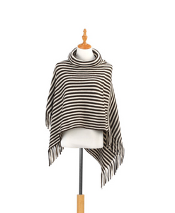 COWL NECK PONCHO BROWN AND CREAM