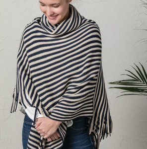 COWL NECK PONCHO NAVY AND CREAM
