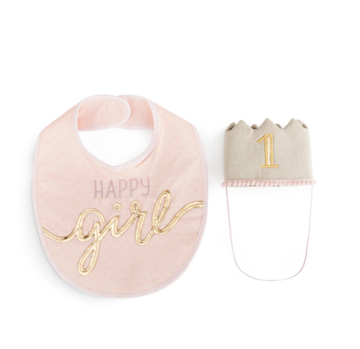 GIRL HAT/BIB SET NURSERY KEEPSAKE