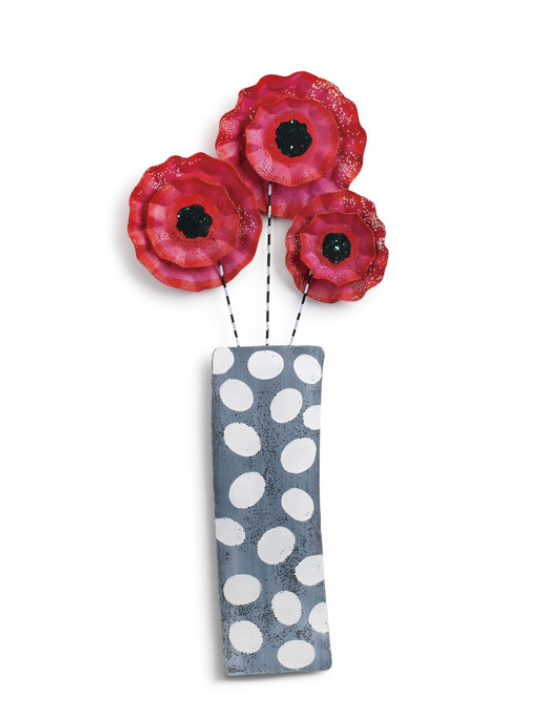 RUFFLED FLOWERS IN VASE DOOR HANGER -IN STORE ONLY
