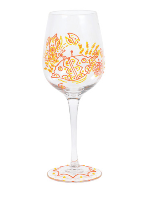RED CRAB STEM WINE GLASS
