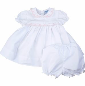 FELTMAN BROTHERS INFANT MIDGIE DRESS WHITE WITH PINK TRIM