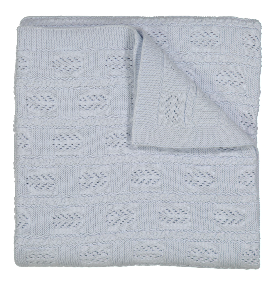 FELTMAN BROTHERS BLUE CABLE POINTELLE KNIT BLANKET