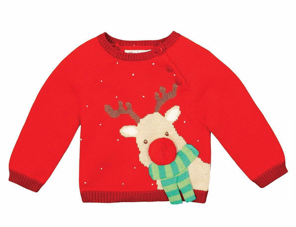 REINDEER COTTON KNIT SWEATER-BOY