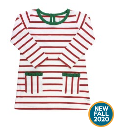 RUFFLE BUTTS WHITE AND CRANBERRY STRIPE POCKET DRESS