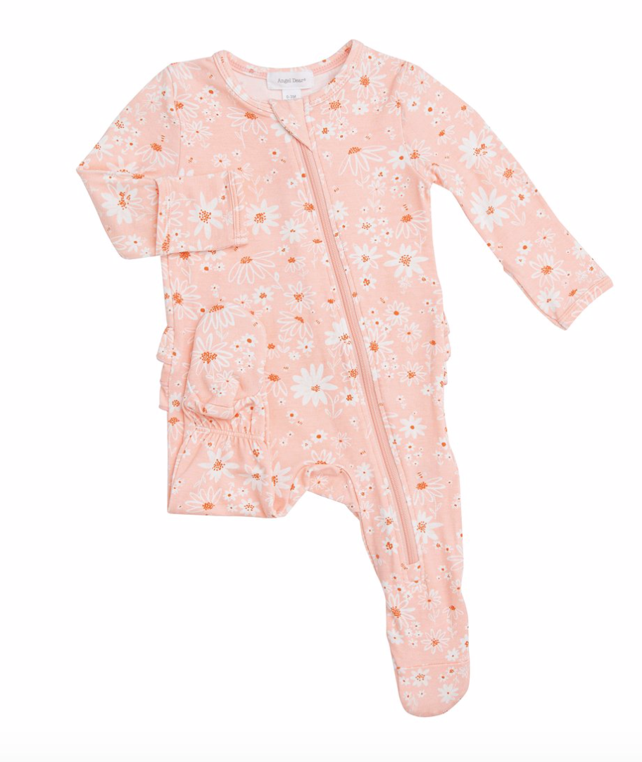 ANGEL DEAR DAISY CHAIN RUFFLE BACK ZIPPER FOOTIE