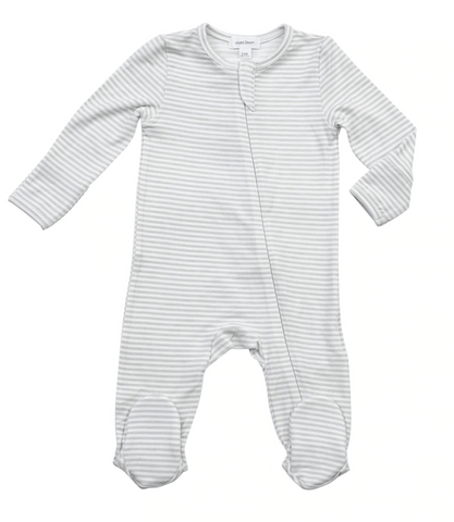 ANGEL DEAR GREY STRIPE HIPPO ZIPPER FOOTIE