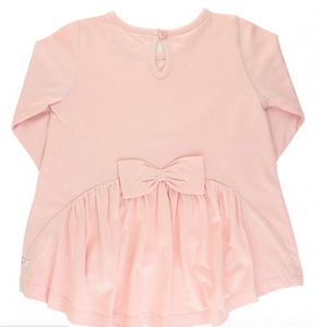 RUFFLE BUTTS BALLET PINK LONG SLEEVE BOW BACK TOP