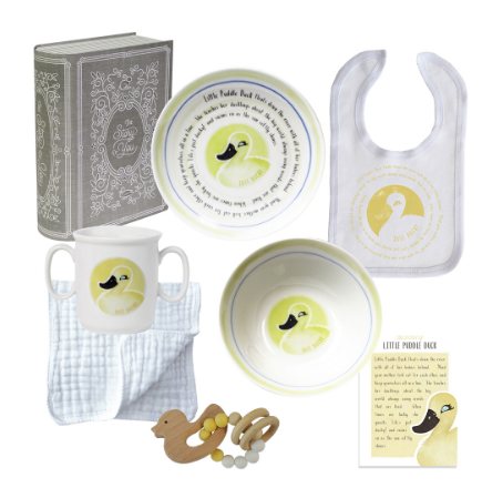 DUCK CUP PLATE BOWL BIB & TEETHER SET