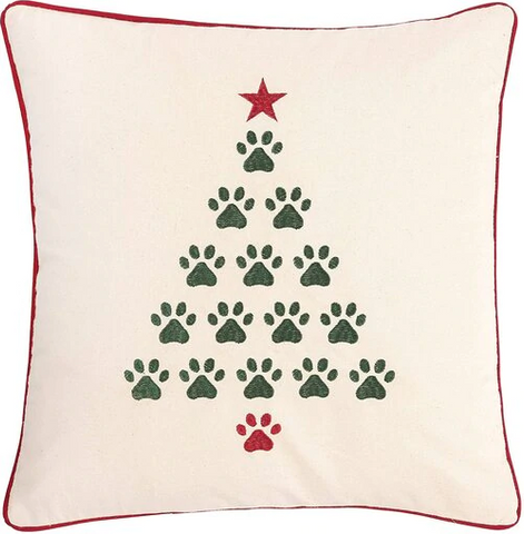 CHRISTMAS TREE PAWS PILLOW